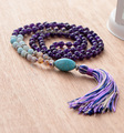 108 Beads Necklace Amethyst Amanoite Jasper with Turquoise Pendant and Long Tassel Necklace 2016 Fashion Mala Necklace