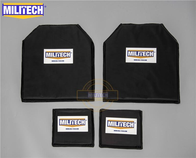 MILITECH Bulletproof Aramid Ballistic Panel Plate Inserts Body Armor Soft Armour NIJ Level IIIA 3A 11 X 14 STC & 6 X 6 Pairs Set