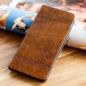 Embossed Leather Flip Cover for Samsung Galaxy S10 A9 A6 A7 2018 Phone Case Magnetic