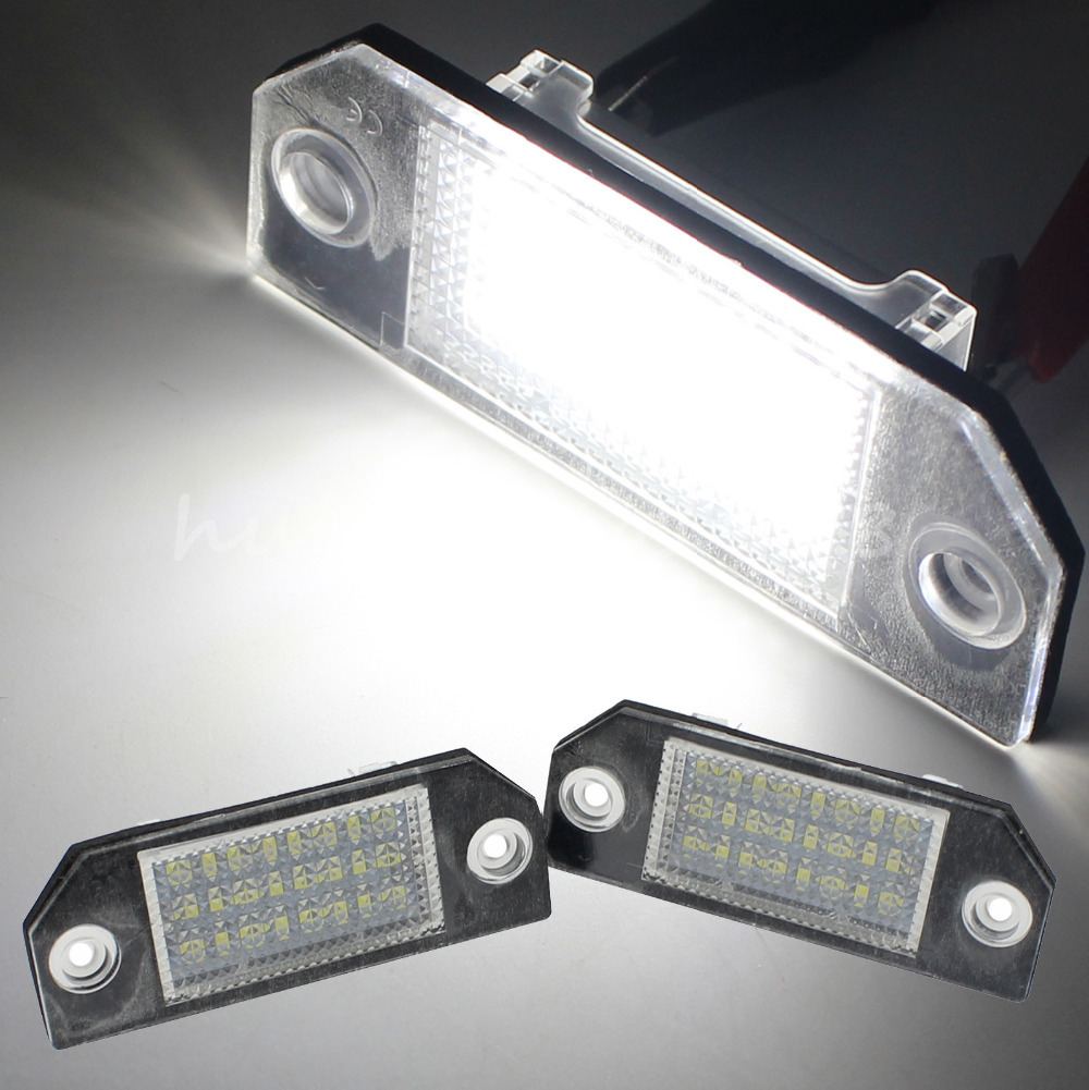 24 LED 3528 SMD 12V 3W License Plate Lights White Lamps For Ford Focus C MAX MK2 2003 2008 Over 50,000 Hours