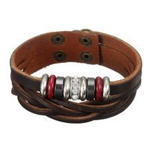 Jewelry Fashion Leather Bracelet Wristband Bangle Punk Style Knit For Men WomenColor brown