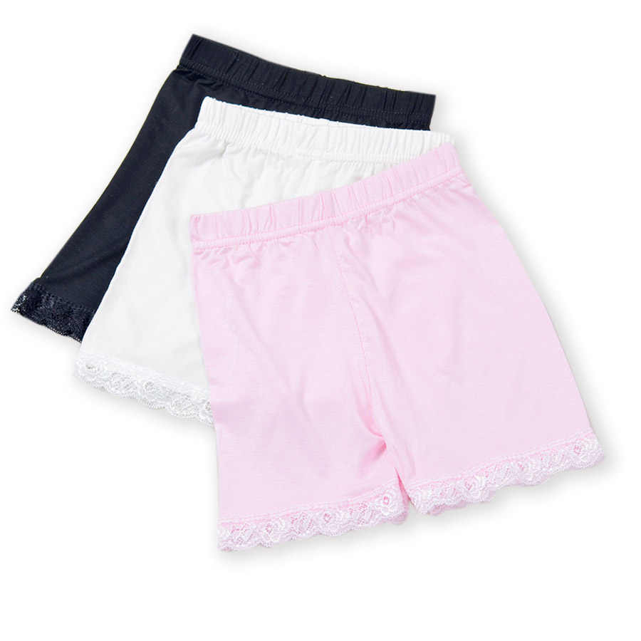 Однотонные ультратонкие леггинсы для девочек безопасные Короткие штаны Нижнее белье с кружевным краем трусы-боксеры для девочек, Короткие штаны для От 3 до 15 лет, детская одежда