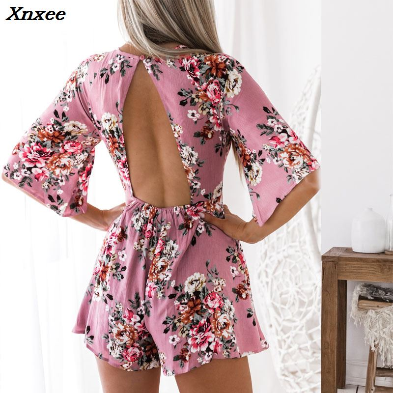 Xnxee 2018 Sexy rompers womens Summer halter printed short-sleeved shorts female jumpsuits women overalls bodysuit
