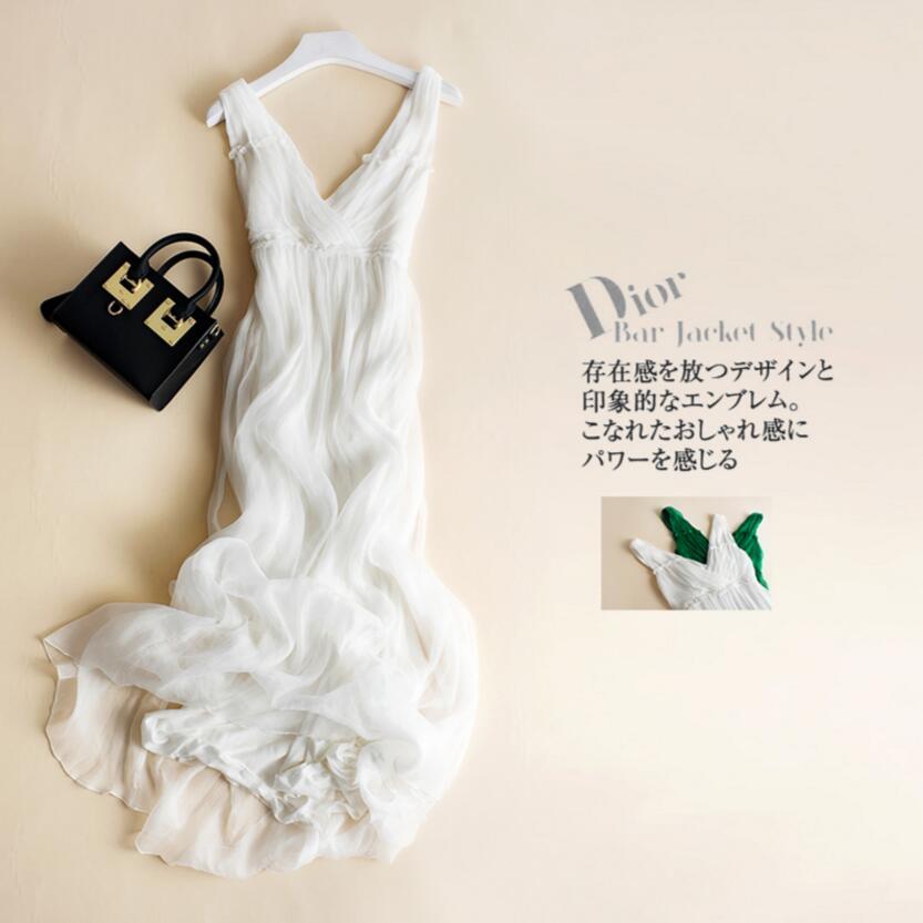 Nové letní plážové šaty 100% hedvábné ženy bílé tekoucí dlouhé šaty elegantní přírodní tkanina vysoce kvalitní doprava zdarma