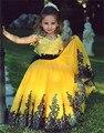 Ярко-Желтый Новое Прибытие Кружева аппликация Темно-Синий Sash Вмс Лук Детские Младенческой Девушки Цветка Платья