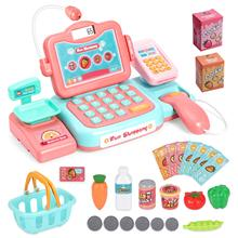 Durable Cash Register Toy-Pretend Play Educational Toy with Scanner, Sound, Music Play Money & Grocery Toy for Kids cash register with scanner weighing scale electronic educational toy multi functional play toy for kid real calculator toys p15