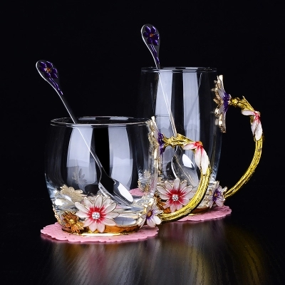 Drinkware tea cup enamel cup glass cups chrysanthemum creative gift cups gift