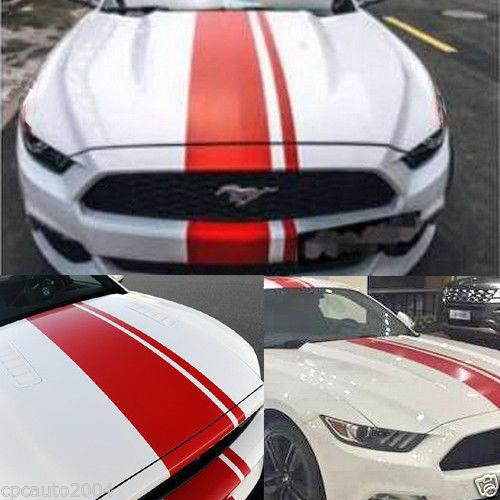 Styling De Voiture Pour Voiture Double Racing Bande Capot Toit Arrière Stickers  Pour Mustang Vinyle Autocollants