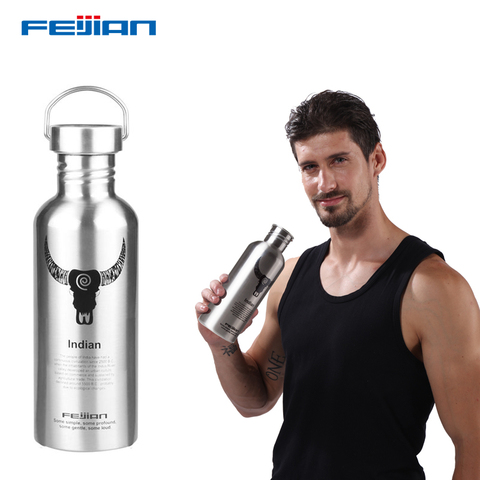 FEIJIAN Water Bottle 304 Stainless Steel Drink Bottle Wide Mouth Leak Proof Flask Kettle 750ml/1000ml for Tour Bicycle Camping Karachi
