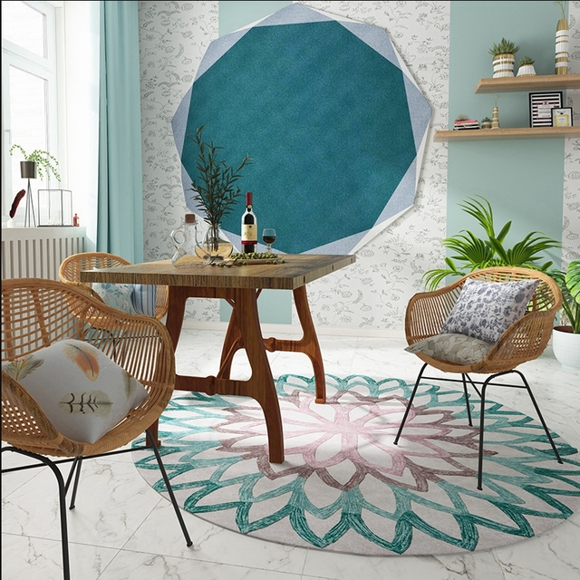 3D Floral Round Carpet Mawgie