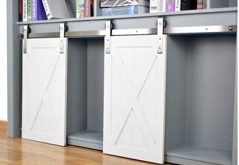 DIYHD Brushed Stainless Steel Mini Strap Roller Barn Door Hardware Cabinet Small Sliding Barn Door Hardware(No Cabinet)