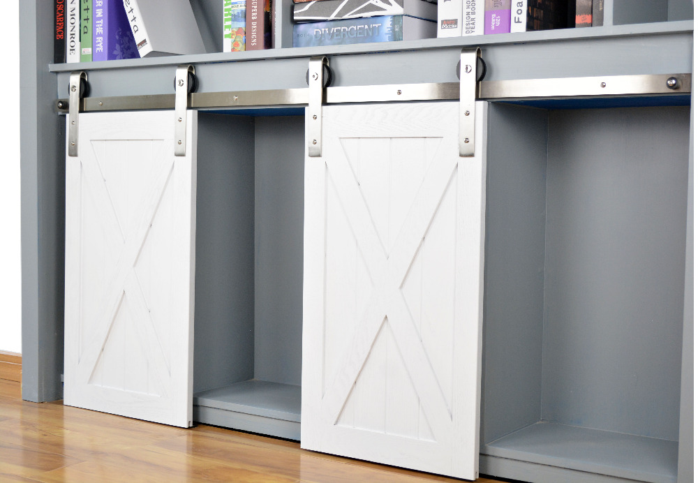 DIYHD acier inoxydable brossé Mini sangle rouleau grange porte matériel armoire petite coulissante grange porte matériel (pas d'armoire)