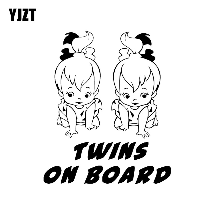 YJZT 12.5CM*15CM BABY TWINS ON BOARD Car Decal Vinyl Sticker Black/Silver C10-00777