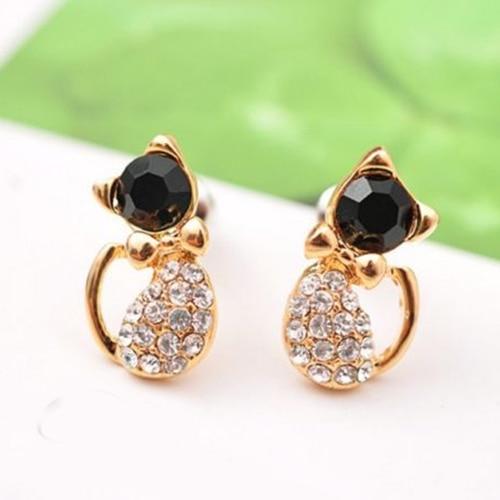 2015 hot sell Women's Cute Cat Black and White Crystal Rhinestones Stud Earring Alloy Ear Studs Elegant Jewelry  56QI