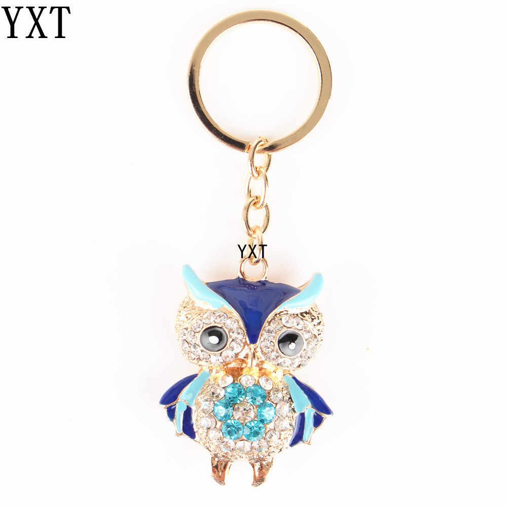 Синий Сова Птица Кристалл Шарм кошелек сумочка автомобильный брелок цепочка вечерние на свадьбу День рождения креативный подарок