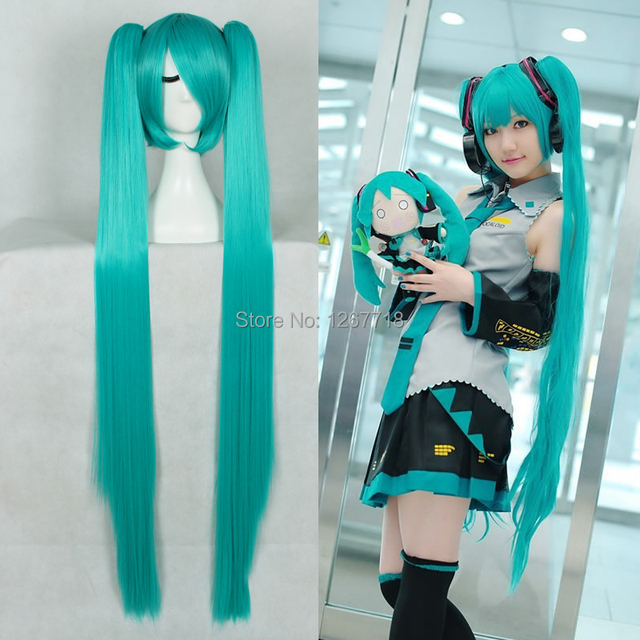 Long Straight Blue Hair Wig With Two Ponytails 120cm Side Bangs Heat