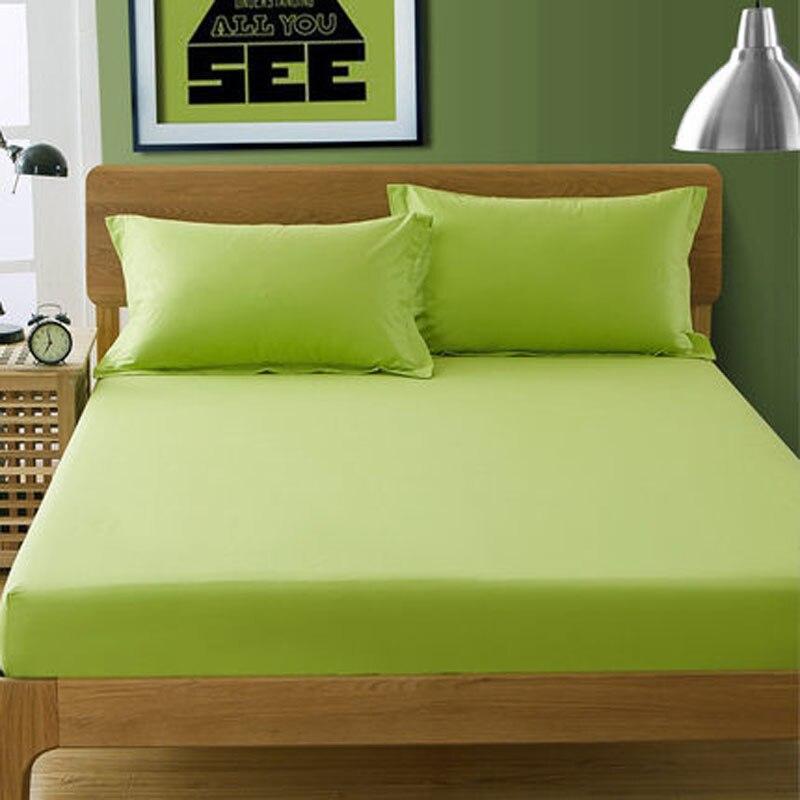 Ev Tekstili Apple Yeşil Saten Pamuk Çarşaf Ikiz Tam kraliçe Kral Düz Renk Çarşaf Yatak Yatak Korumak levhalar