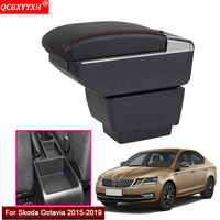 Car Styling ABS With PU Leather Car Armrest Box Center Console Storage Box Holder Case Accessories For Skoda Octavia 2015 2019