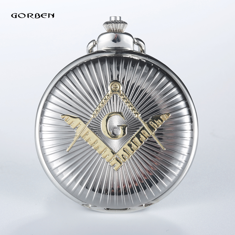 2016 Gorben Luxus Silber& Goldenen Kostenlos- Maurer Steampunk Design Heißer Freimaurer Freimaurer Freimaurerei Taschenuhr Quarzuhr Geschenk
