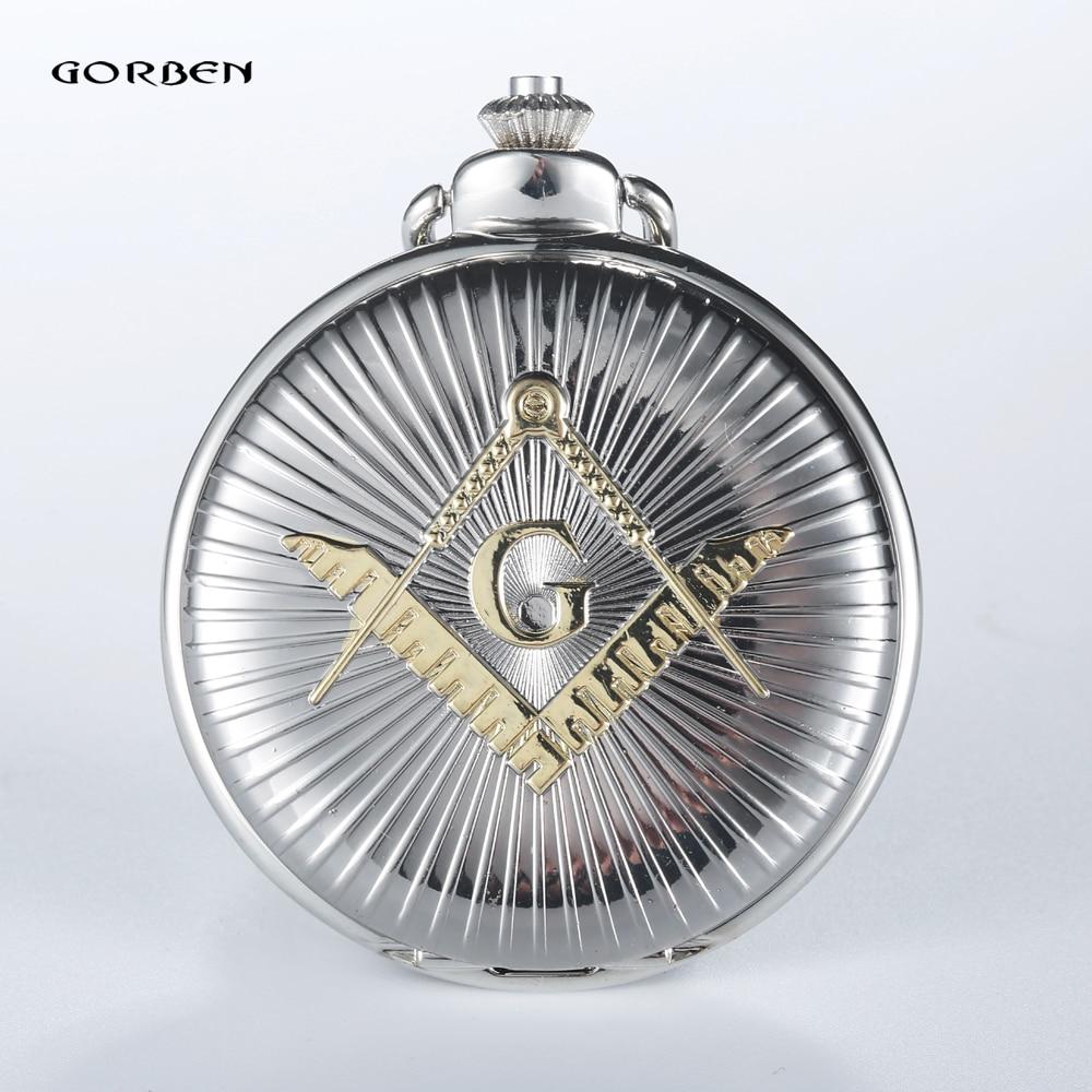 GORBEN Luxury Silver & Golden  Free-Mason Steampunk Design Hot Masonic Freemason Freemasonry Pocket Watch Quartz Watch Gift