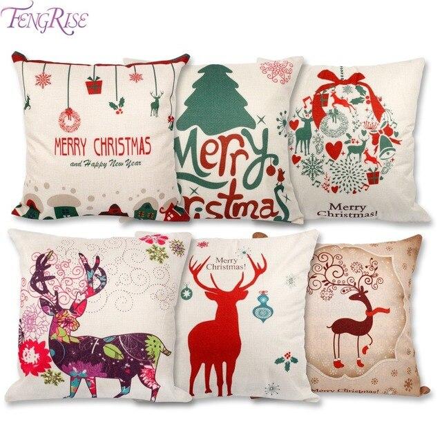 FENGRISE 45x45cm Pillow Case Christmas Decorations For Home Santa Clause Christmas Deer Cotton Linen Cover Cushion Home Decor 1