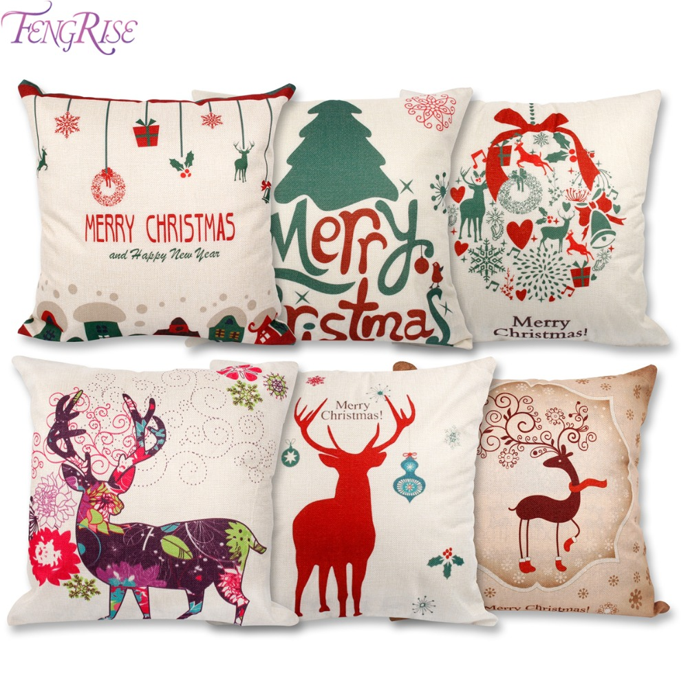 FENGRISE 45x45cm Pillow Case Christmas Decorations For Home Santa Clause Deer Cotton Linen Cushion Cover