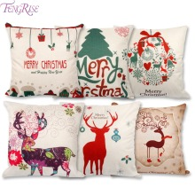 FENGRISE 45x45cm Pillow Case Christmas Decorations For Home Santa Clause Christmas Deer Cotton Linen Cushion Cover Home Decor