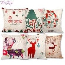 FENGRISE 45×45 cm Fronha Cervos Do Natal de Papai Noel Decorações De Natal Para Casa de Linho de Algodão Capa de Almofada Casa decoração