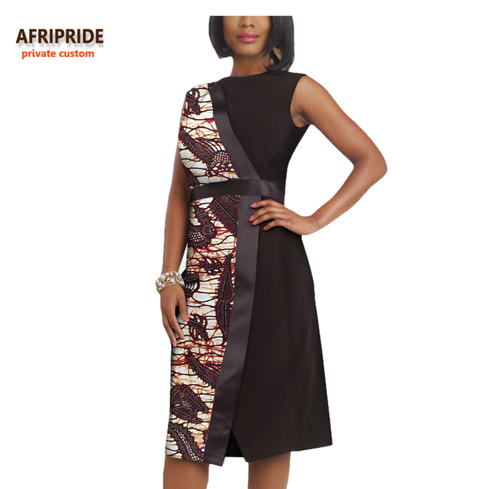 2019 automne robe africaine pour les femmes AFRIPRIDE privé personnalisé sans manches genou-longueur tenue décontractée 100% pur batik coton A722576