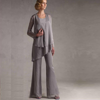 Long Chiffon Formal Dresses With Jackets for Mother Of The Bride Pant Suits Scoop formal women pant suits for weddings