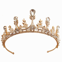 Golden Jeweled Queen Tiara Pearl & Crystal Bridal Sparkly Hair Accessories Round Crown for Festival Party Prom Jewelry