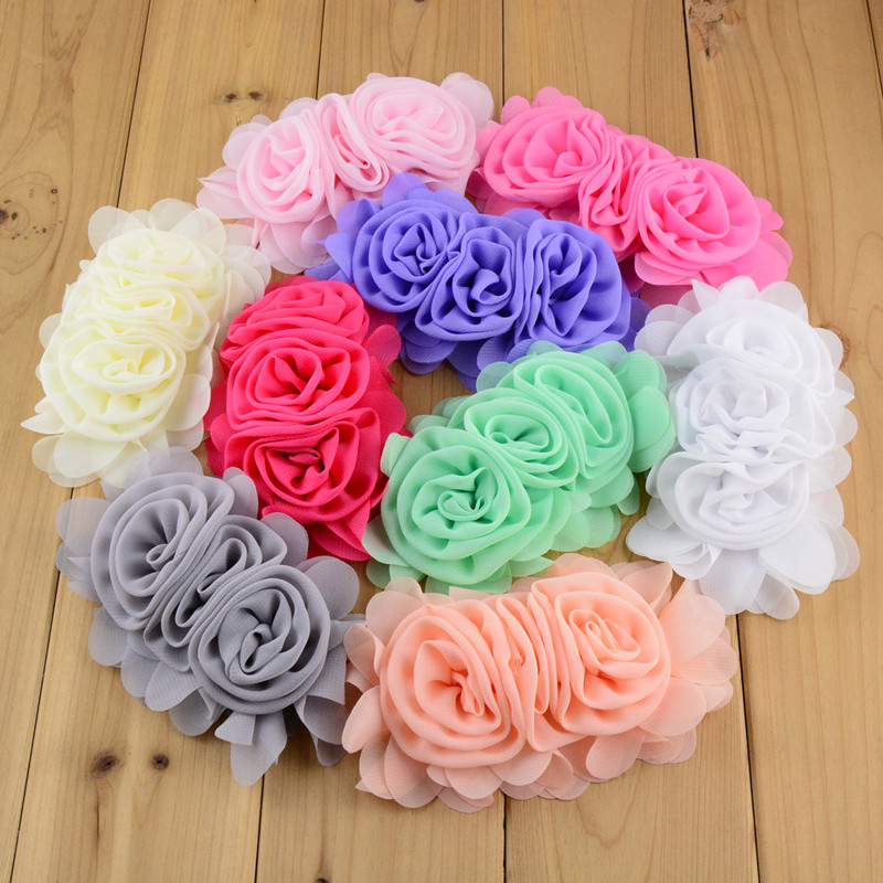 Wholesale 100pcs lot 3 Chiffon Rose Flowers Handmade Rolled Rosettes Fabric Flower DIY Wedding Appliques Hair