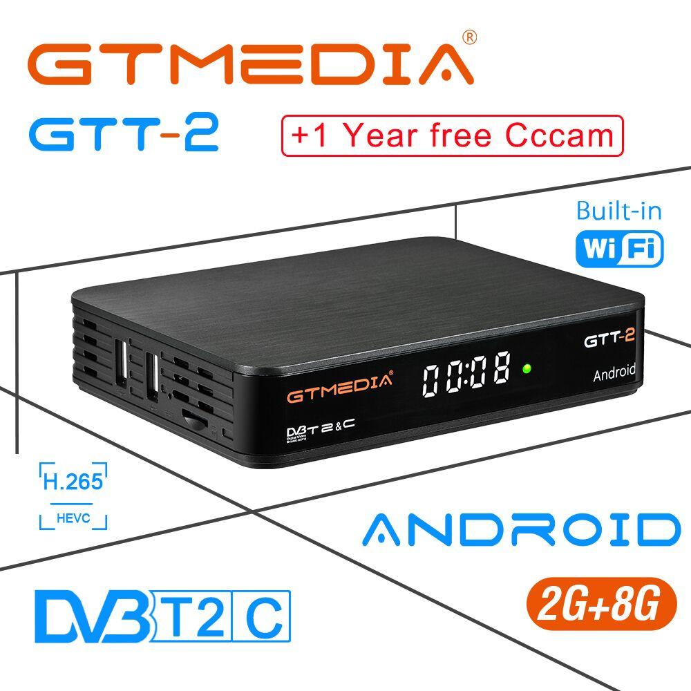 IPTV CCcam GT MEDIA GTT2 Android 6.0 TV BOX+DVB-T/T2/Cable/ISDBT 4K H.265 2G 8G Built in 2.4G WiFi Netflix Media Player Set-top