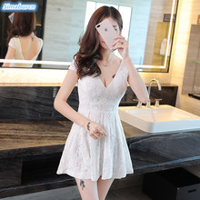 2018 Summer Lace Dress Women Sexy A-Line V-Neck Mini Dresses Hollow Out Casual Female Club Sundress Patchwork White Vestido Robe