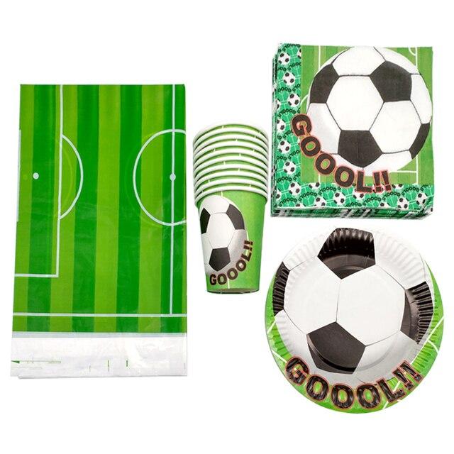 61 pçs/lote Bebê Chuveiro Partido Guardanapos Toalha de Mesa Feliz Aniversário Decorar Desenho da Bola de Futebol de Futebol Copos Pratos Temáticos Caçoa Favores