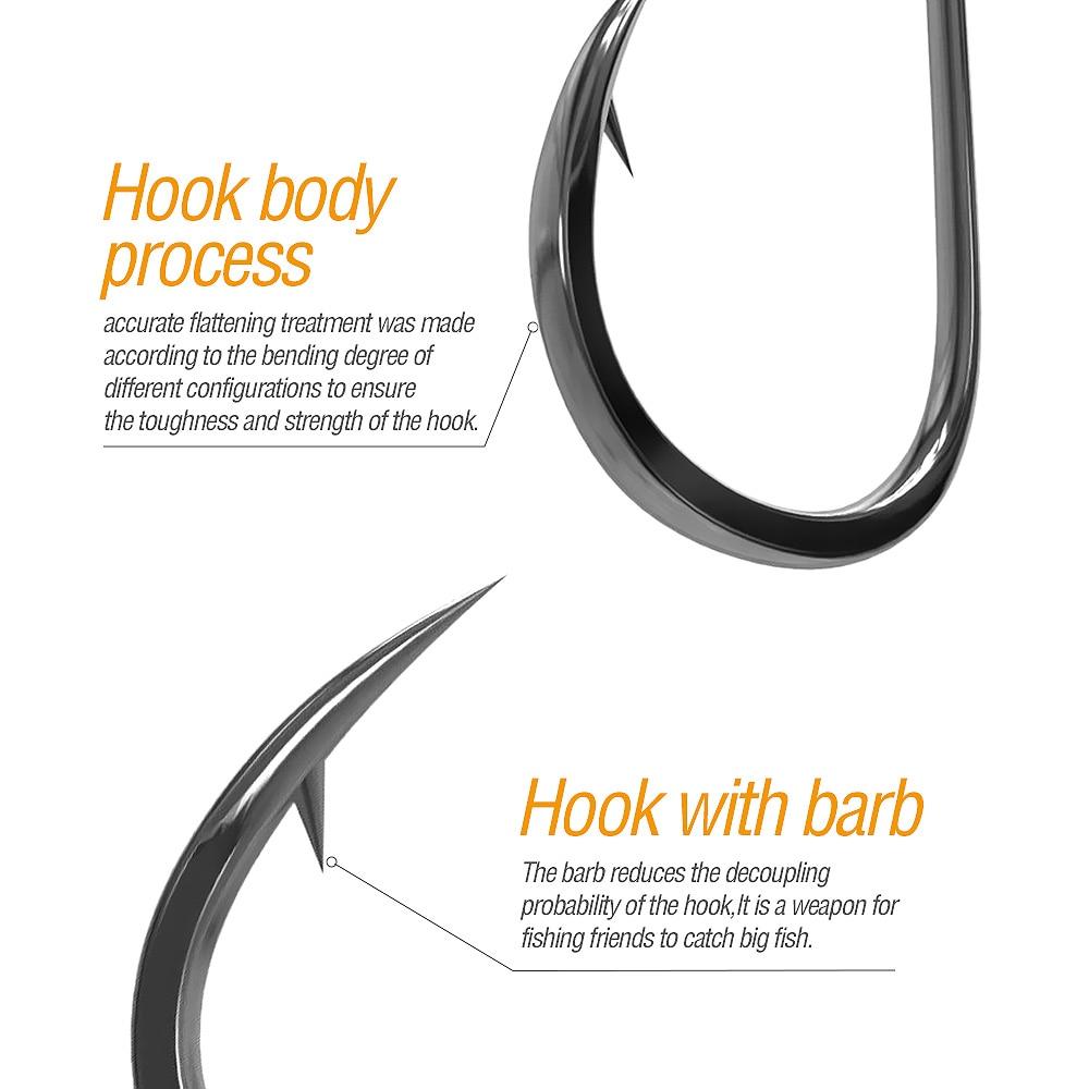 DONQL 50pcs Fishing Hooks Set Barbed Single Circle Carp Hook High Carbon Steel Sea Fishinhook Fly Fishing Accessories Tackle (2)