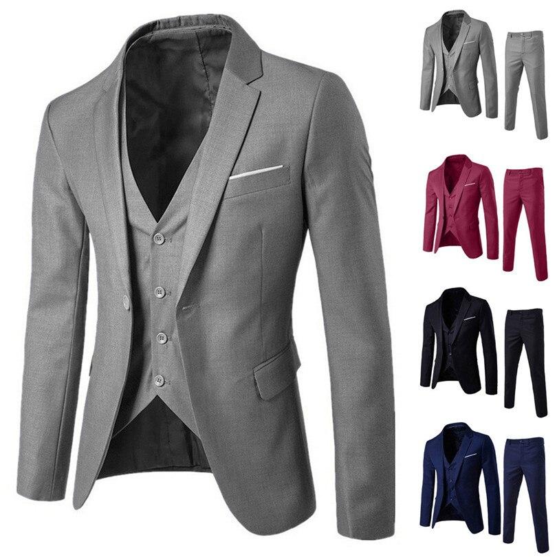 Fashion Autumn Winter Men Suit Slim 3 Piece Suit Blazer Formal Business Wedding Party Jacket Vest PantsTop #4M25