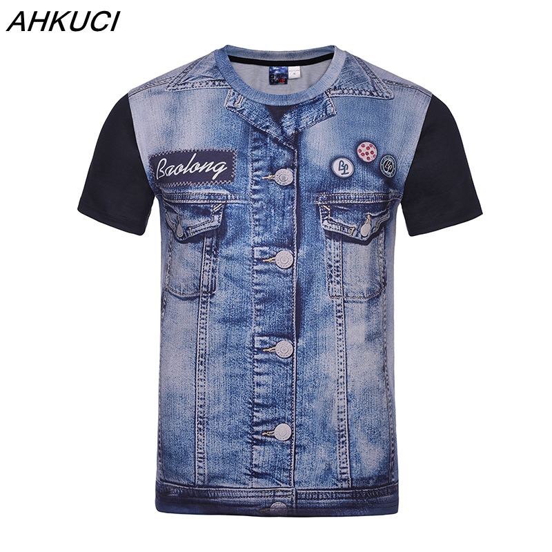 AHKUCI 2017 New Men 3D Print T shirt Casual Fake Demin T-shirt Tattoo Jeans tops Brand Cotton Clothing Tshirt M-4XL puls size