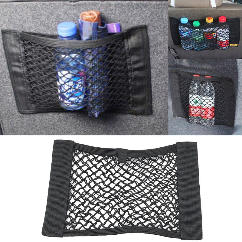 Mini Black Rear Car Trunk Seat Elastic String Net Mesh Storage Bag Pocket Cage L