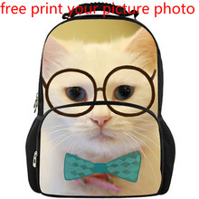 3d custom bag school student backpack bag campus cute cat pattern design dog photo picture free print customized backpack bag