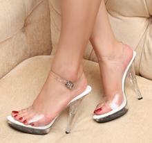 PVC Women Platform Sandals 12cm Super High Heels Waterproof Female Transparent Crystal Wedding Shoes Sandalia Feminina