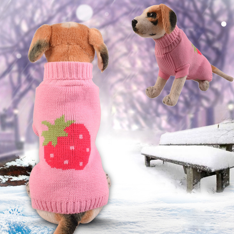 Cool And Cute Strawberry Sweater Clothing Pet Dog Clothes For Small Dogs Chihuahua Winter Warm Puppy Costume French Bulldog