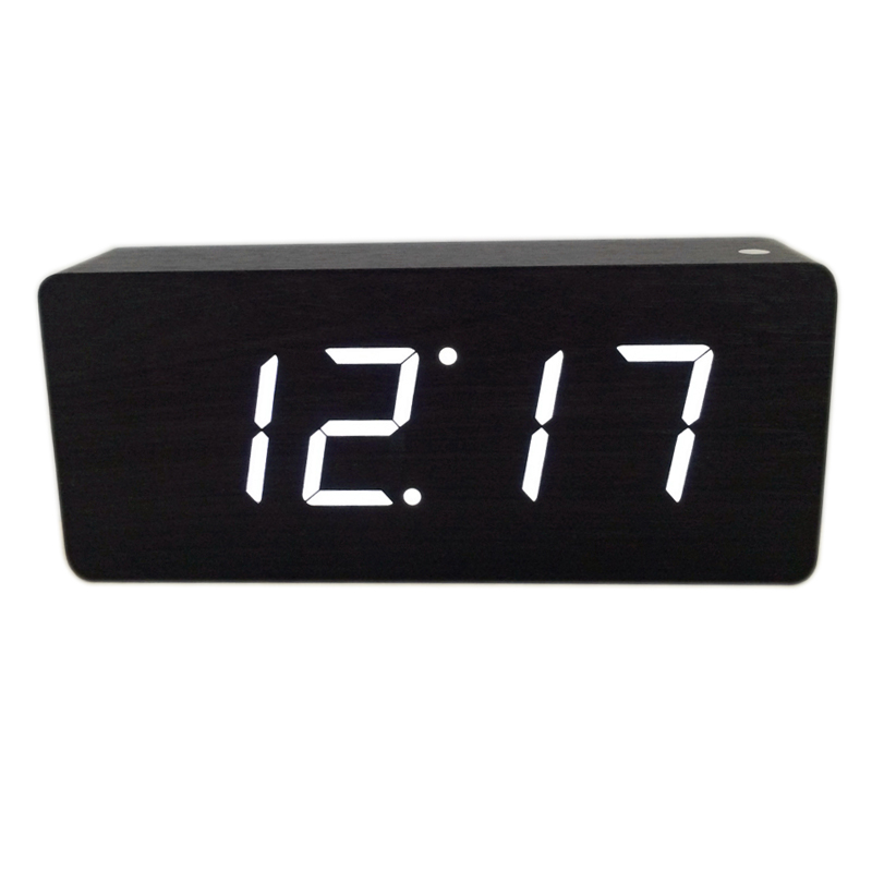 2019 new Modern Calendar Alarm Clocks ,Thermometer Wooden clocks,LED display Clock , Big numbers with digital clocks A58DNA