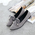 2017 spring women pointed flat joker shallow mouth single flat with suede shoes sweet bowknot shoe