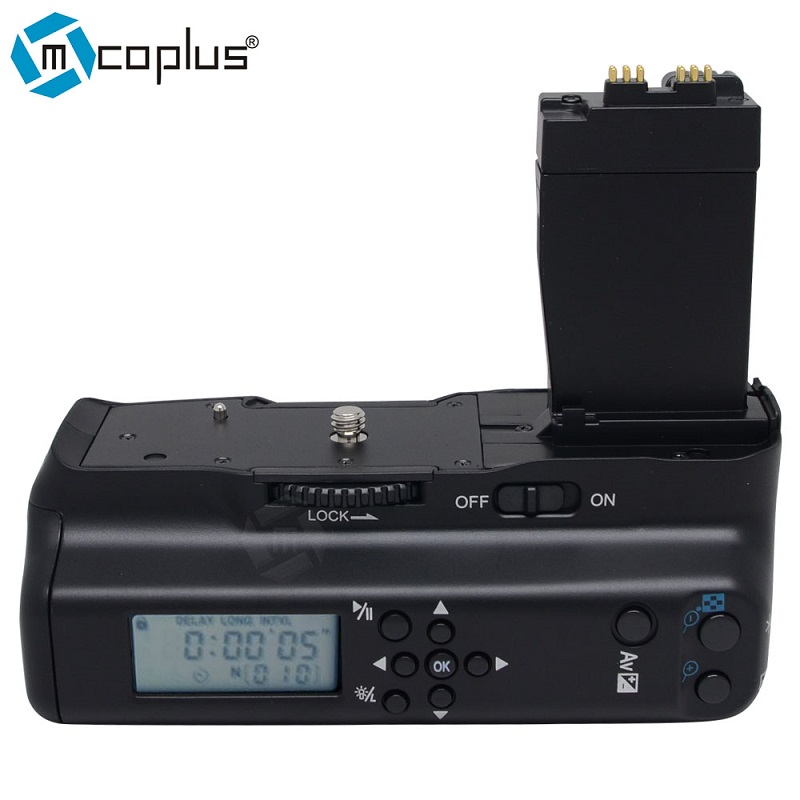 Mcoplus BG-550DL LCD Timer Vertical <font><b>Battery</b></font> <font><b>Grip</b></font> for <font><b>Canon</b></font> EOS 550D 600D <font><b>650D</b></font> 700D/ Rebel T2i T3i T4i T5i SLR Digital Camera image