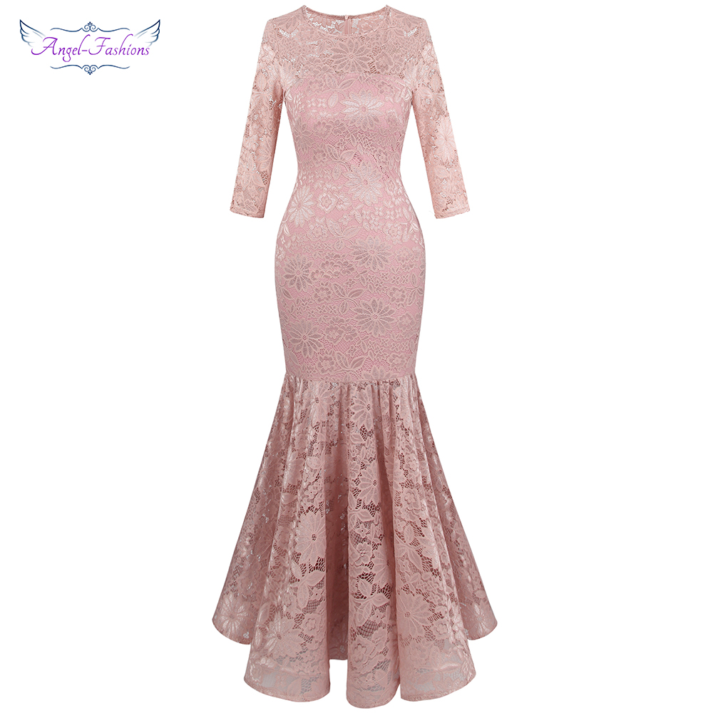 Angel-fashions Women's Sheer 3/4 Sleeve Lace   Evening     Dresses   Floral Mermaid Party Gown Light Pink 416