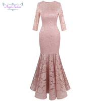 Angel fashions Women's Sheer 3/4 Sleeve Lace Evening Dresses Floral Mermaid Party Gown Light Pink 416