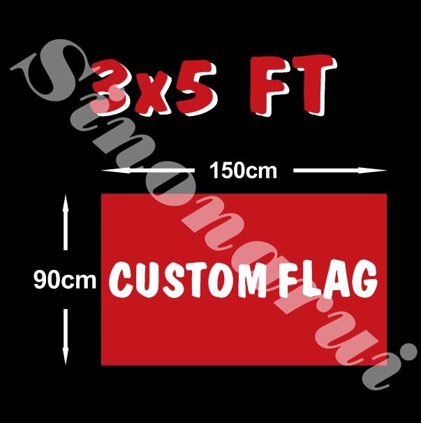 Custom flag 90 150cm all logo all color royal flag With White Sleeve Metal Gromets For