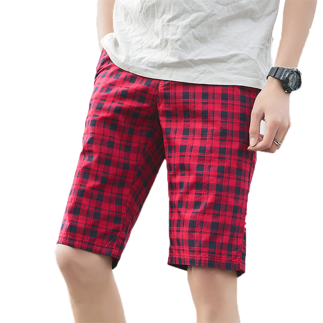 2019 Summer Cargo Shorts For Men Slim Fit Men Baggy Shorts Brand Streetwear  29-40 Plaid Plus Size Mens Short Shorts