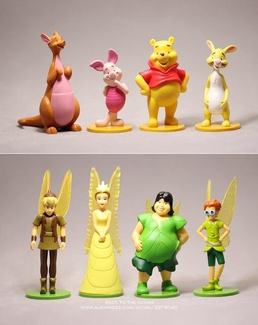 דיסני פו הדוב 7 12cm 8 יח\סט פעולה איור אנימה קישוט אוסף צלמית מיני צעצוע דגם עבור ילדי מתנה